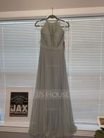 A-Line/Princess Scoop Neck Floor-Length Chiffon Lace Bridesmaid Dress With Pleated (266177111)