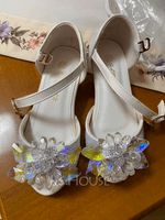 Girl's Peep Toe Leatherette Low Heel Sandals Flower Girl Shoes With Bowknot Buckle (207204354)