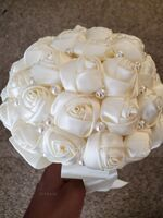 Round Satin Bridal Bouquets/Bridesmaid Bouquets (Sold in a single piece) - (123137306)