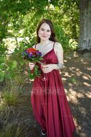 A-Line V-neck Floor-Length Satin Bridesmaid Dress With Ruffle Pockets (007236081)