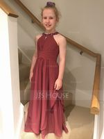A-Line Scoop Neck Floor-Length Chiffon Junior Bridesmaid Dress With Ruffle Beading (009173287)