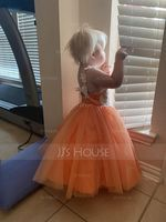 A-Line Knee-length Flower Girl Dress - Tulle/Lace Sleeveless Straps With Bow(s) (010192425)