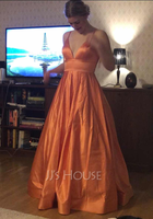 Ball-Gown/Princess V-neck Floor-Length Satin Prom Dresses (018147708)