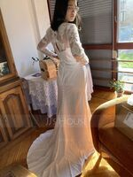 Trumpet/Mermaid Illusion Sweep Train Stretch Crepe Wedding Dress (002127266)