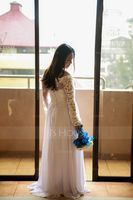 A-Line Off-the-Shoulder Floor-Length Chiffon Wedding Dress (002186363)