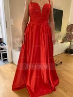 A-Line V-neck Floor-Length Satin Prom Dresses With Sequins Split Front (018192364)