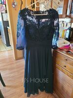 Scoop Neck Tea-Length Chiffon Lace Mother of the Bride Dress With Cascading Ruffles (267219962)