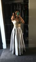 V-neck Floor-Length Satin Prom Dresses With Beading Sequins (272197653)