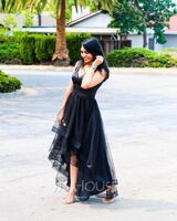 A-Line V-neck Asymmetrical Tulle Prom Dresses With Beading (018220253)