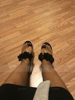 Women's Leatherette Flat Heel Sandals Slippers With Flower shoes (087236314)