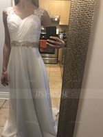 V-neck Court Train Chiffon Wedding Dress With Ruffle (265252641)