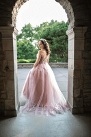Ball-Gown/Princess Sweetheart Sweep Train Tulle Prom Dresses With Beading Sequins (018187213)