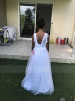 A-Line/Princess V-neck Floor-Length Tulle Junior Bridesmaid Dress (268177174)