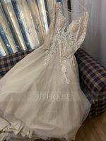 Ball-Gown/Princess Scoop Neck Court Train Tulle Lace Wedding Dress (002234911)
