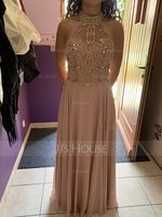 High Neck Floor-Length Chiffon Prom Dresses With Beading (272204715)