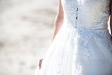 Ball-Gown V-neck Chapel Train Tulle Wedding Dress With Sequins (002145303)