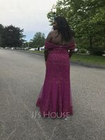 Trumpet/Mermaid Off-the-Shoulder Floor-Length Tulle Lace Mother of the Bride Dress With Sequins (008195401)