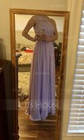 A-Line One-Shoulder Floor-Length Chiffon Lace Bridesmaid Dress With Split Front (007176771)