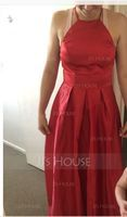 A-Line Square Neckline Asymmetrical Satin Bridesmaid Dress With Ruffle Bow(s) (007153341)