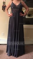 V-neck Floor-Length Chiffon Evening Dress With Beading (271202865)
