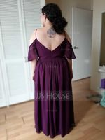 A-Line Off-the-Shoulder Floor-Length Chiffon Bridesmaid Dress With Ruffle (007233644)