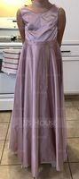 A-Line/Princess Scoop Neck Floor-Length Satin Junior Bridesmaid Dress (268177132)