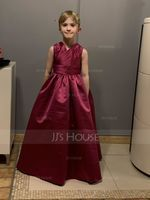 A-Line/Princess V-neck Floor-Length Satin Junior Bridesmaid Dress With Ruffle (268183033)