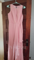 A-Line Scoop Neck Floor-Length Bridesmaid Dress With Split Front (266257488)
