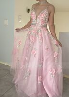 A-Line V-neck Floor-Length Tulle Prom Dresses With Beading Sequins (018187223)