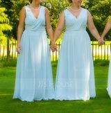A-Line/Princess V-neck Floor-Length Chiffon Bridesmaid Dress With Ruffle (007072249)