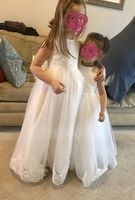 A-Line/Princess Floor-length Flower Girl Dress - Satin/Lace Sleeveless Scoop Neck With Bow(s) (010122552)