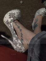 Women's Real Leather Stiletto Heel Closed Toe Pumps With Rhinestone (273195565)