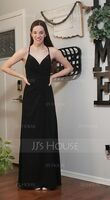 V-neck Floor-Length Chiffon Bridesmaid Dress With Ruffle Split Front (266227811)
