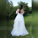 A-Line Off-the-Shoulder Asymmetrical Organza Wedding Dress With Sequins (002134555)