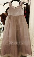 Ball Gown Ankle-length Flower Girl Dress - Satin/Tulle Sleeveless Square Neckline (010094107)