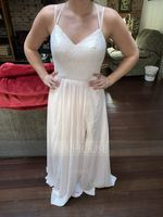 A-Line/Princess Sweetheart Floor-Length Chiffon Lace Bridesmaid Dress With Split Front (266177108)