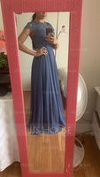 Scoop Neck Floor-Length Chiffon Lace Bridesmaid Dress With Pockets (266230660)