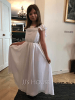 A-Line Ankle-length Flower Girl Dress - Chiffon/Lace Short Sleeves Scoop Neck With Beading (010254282)