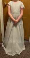 V-neck Floor-Length Chiffon Junior Bridesmaid Dress With Cascading Ruffles (268237294)
