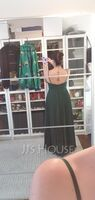 A-Line V-neck Floor-Length Prom Dresses With Pleated (018254398)