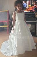 Ball Gown Sweep Train Flower Girl Dress - Satin/Lace Sleeveless Square Neckline With Rhinestone (010153217)