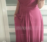 Empire V-neck Floor-Length Chiffon Bridesmaid Dress With Cascading Ruffles (007206474)