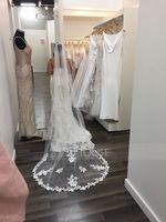 One-tier Lace Applique Edge Cathedral Bridal Veils With Lace (006207637)
