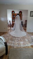 Two-tier Lace Applique Edge Cathedral Bridal Veils With Lace (006163754)