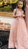 Ball-Gown/Princess Floor-length Flower Girl Dress - 1/2 Sleeves Scoop Neck With Sequins (010256476)