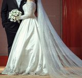 Ball-Gown/Princess Off-the-Shoulder Sweep Train Satin Wedding Dress With Beading Sequins (002171967)