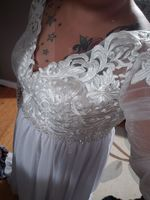 V-neck Sweep Train Chiffon Wedding Dress With Beading Sequins Split Front (265193324)