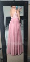 V-neck Floor-Length Chiffon Lace Bridesmaid Dress (266213501)