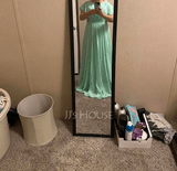 A-Line Scoop Neck Floor-Length Bridesmaid Dress With Ruffle (266255956)