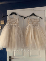 Knee-length Flower Girl Dress - Tulle Lace Sleeveless Straps With Rhinestone (269195575)